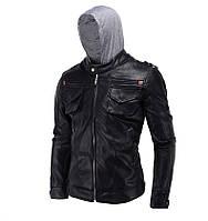 Куртка кожаная байкерская с капишоном.Натуральная кожа.