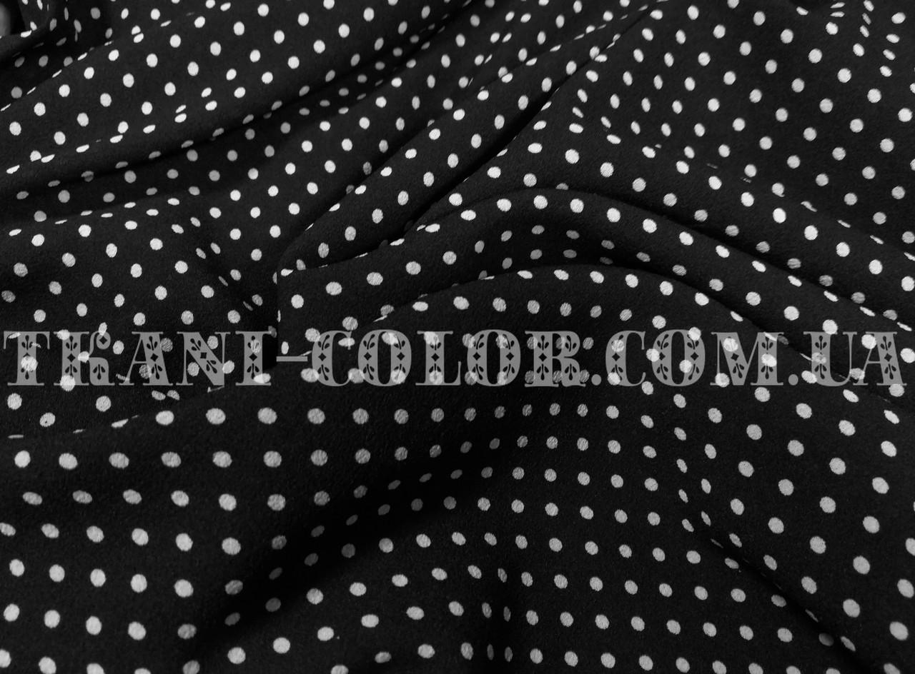Ткань креп-шифон принт белый горох на черном фоне