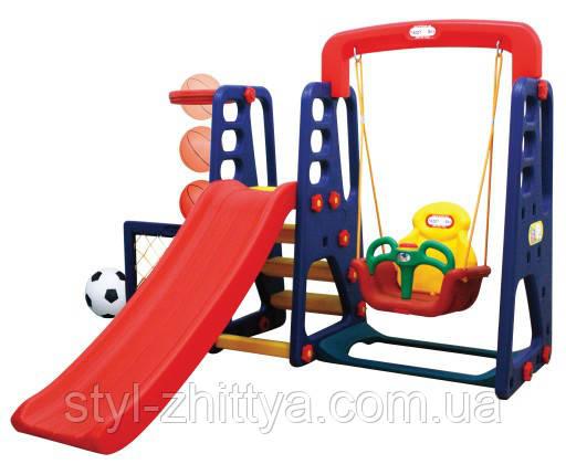 Ігрові майданчики 4в1 / гірка + качеля + баскетбол + ворота