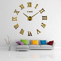 Большие 3-D  часы римские золотые, зеркальные