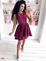 Платье короткое вечернее каскад жаккард+кружево с паетками 42-44,44-46, фото 1