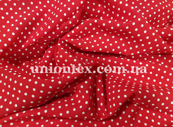 Креп-шифон принт горох белый на красном, фото 2