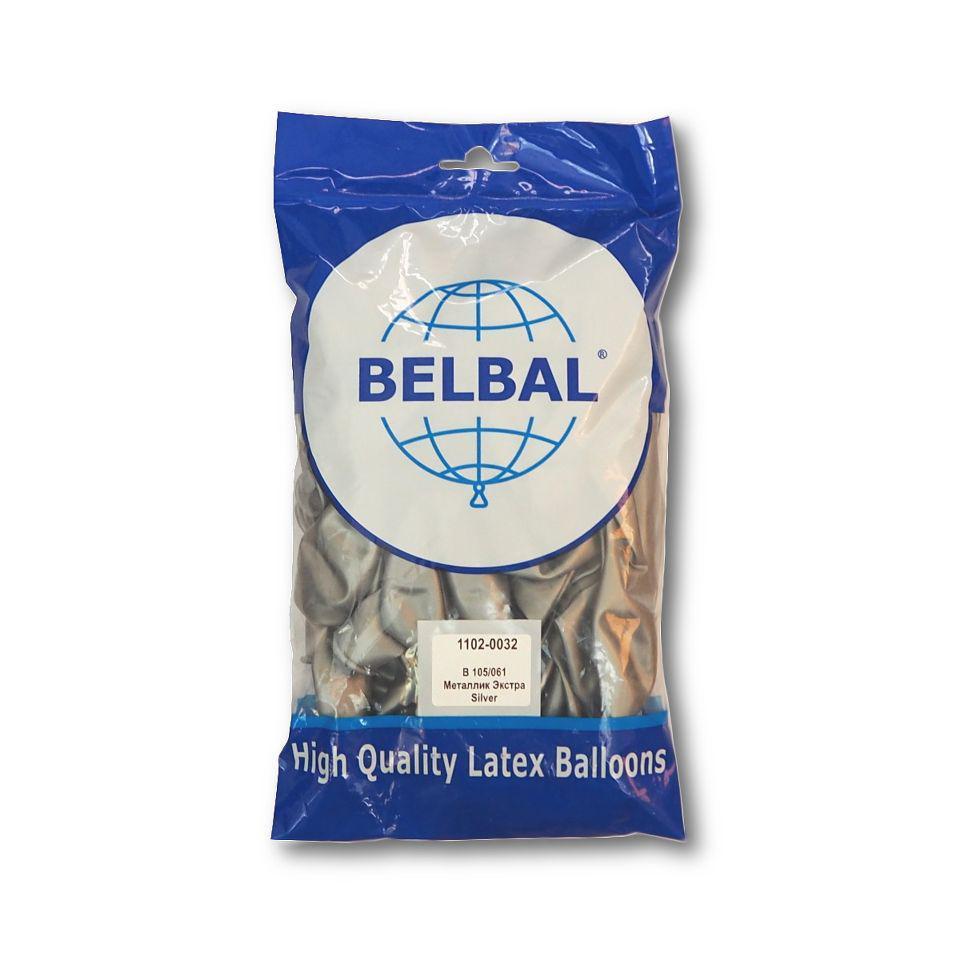 """Воздушные шары Belbal металлик 12""""(30 см) серебро 50 шт"""