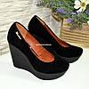 Замшевые женские туфли на устойчивой высокой платформе, фото 4