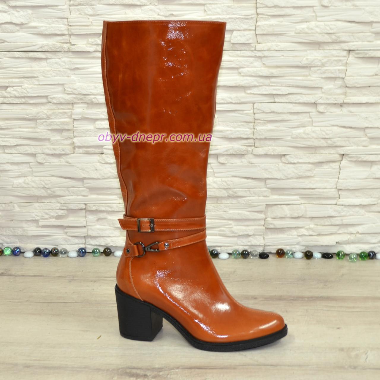 Сапоги женские   кожаные на устойчивом каблуке, цвет рыжий