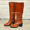 Сапоги женские   кожаные на устойчивом каблуке, цвет рыжий, фото 4