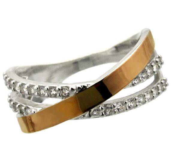 """Женское серебряное кольцо с золотыми пластинами """"Наоми"""""""