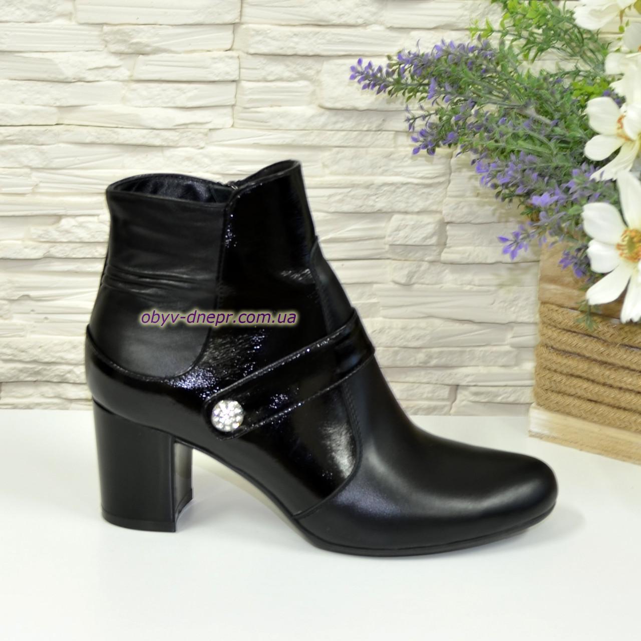 Женские ботинки на невысоком каблуке, натуральная кожа и лак