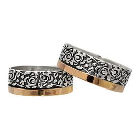 """(Пара) Серебряные обручальные кольца с золотыми пластинами """"Цветы в тебе"""""""