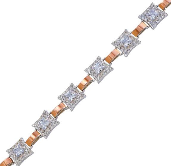 Серебряный браслет женский с золотыми пластинами арт. 30006