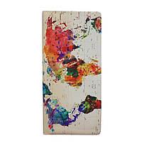 """Турконверт (обложка для документов) с дизайнерским рисунком """"Карта акварель"""""""