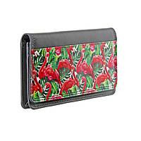 """Кожаный кошелек с дизайнерским рисунком """"Фламинго"""""""