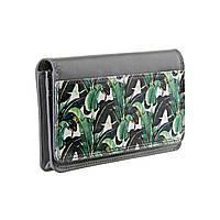 """Кожаный кошелек с дизайнерским рисунком """"Пальмовые листья"""""""
