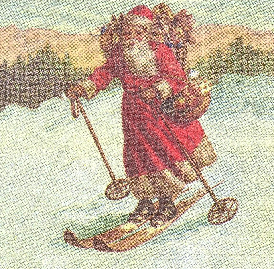 Декупажная салфетка Санта на лыжах 7449