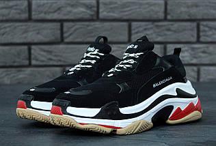 Женские и мужские кроссовки Balenciaga Triple S Black/White/Red, фото 2
