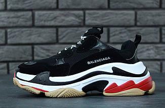 Женские и мужские кроссовки Balenciaga Triple S Black/White/Red, фото 3