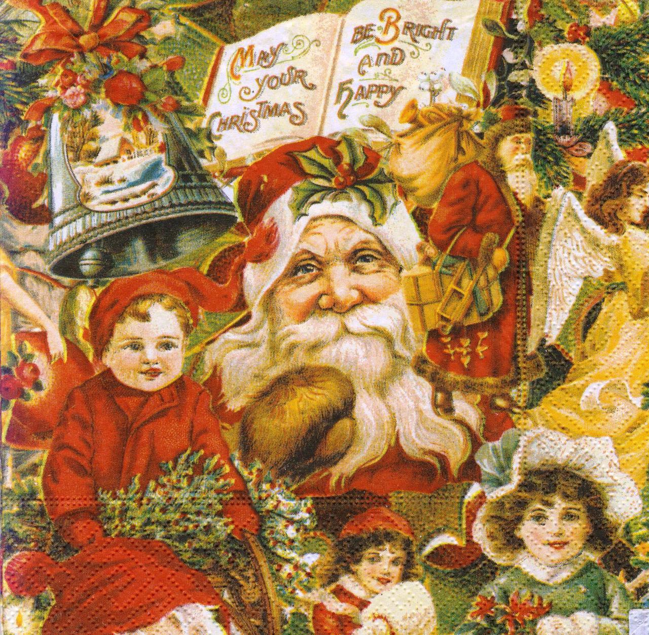 Декупажные салфетки Санта и дети 7450
