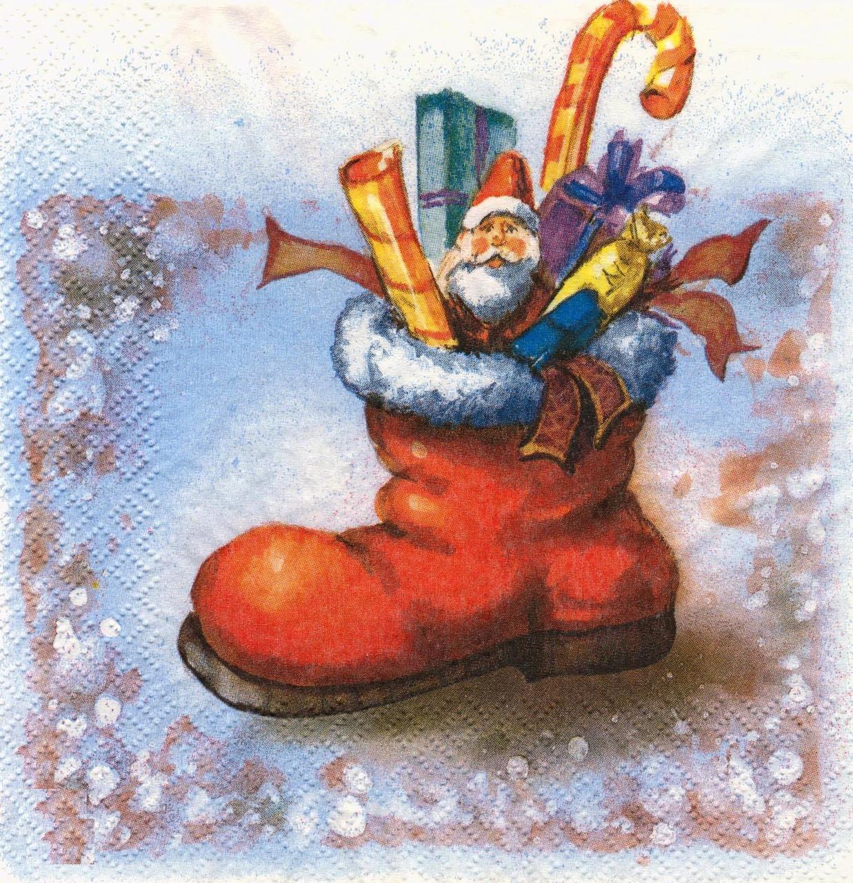 Декупажные салфетки Санта и подарки 7451