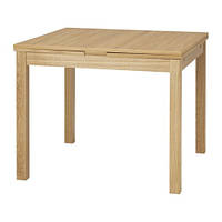 BJURSTA  Раздвижной стол, дубовый шпон , фото 1