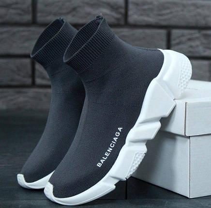 79bfcb2fa2df Женские и мужские кроссовки в стиле Balenciaga Speed Trainer Sock Grey White,  фото 2