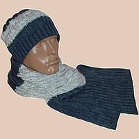 Вязаная мужская шапка спортивного силуэта, и шарф