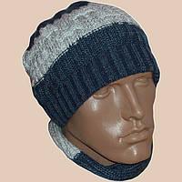 Вязаная мужская  шапка спортивного силуэта