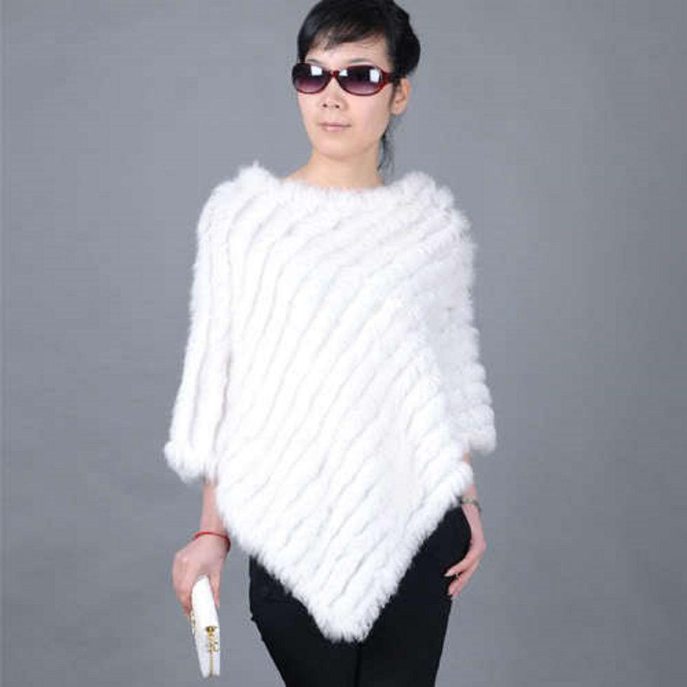 Женская шаль с натуральным кроличьим мехом.