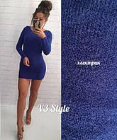 Короткое женское теплое платье из ангоры с за округленной горловиной цвета  электрик. Арт-6369 0cf087b24015b