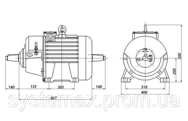 МТН 200 LA8 - IM1004 комбінований (габаритні і настановні розміри)
