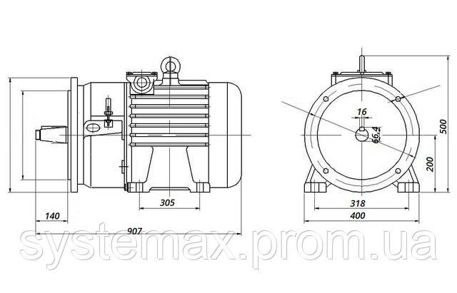 МТН 200 LA8 - IM2003 фланец на лапах (габаритные и установочные размеры)