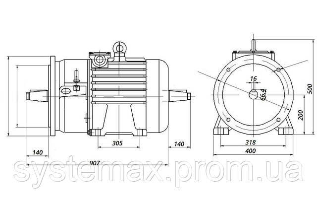 МТН 200 LA8 - IM2004 фланец на лапах (габаритные и установочные размеры)
