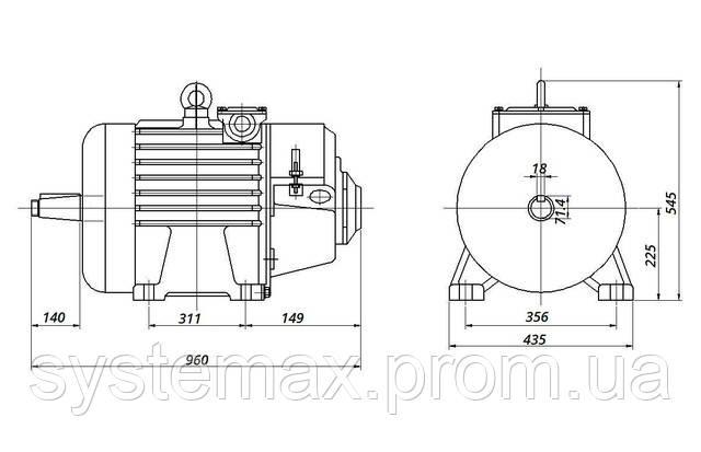 4МТM 225 L8 - IM1003 на лапах (габаритные и установочные размеры)