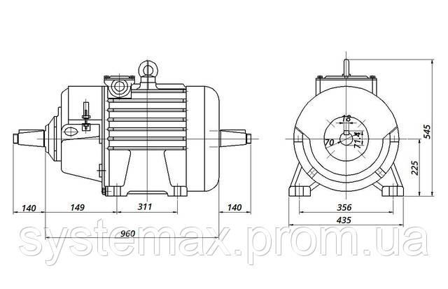 МТН 225 L8 - IM1004 комбинированный (габаритные и установочные размеры)