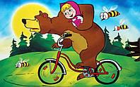 Картина раскраска На велосипеде (Маша и Медведь) (17101) 20 х 30 см