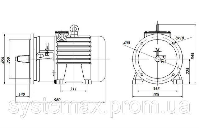 МТН 225 L8 - IM2003 фланец на лапах (габаритные и установочные размеры)