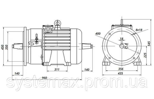 МТН 225 L8 - IM2004 фланец на лапах (габаритные и установочные размеры)