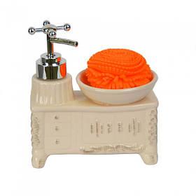 """Набор керамический для ванной """"Washbasin"""" беж. 15*14*7 см (YX5083)"""