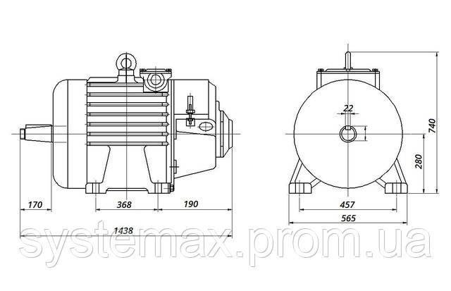 4МТM 280 S8 - IM1003 на лапах (габаритные и установочные размеры)
