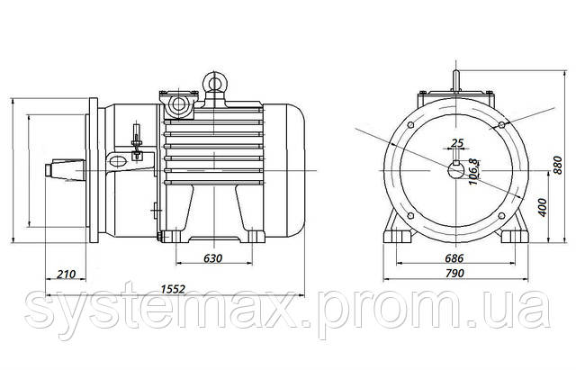 МТН 280 S8 - IM2003 фланец на лапах (габаритные и установочные размеры)