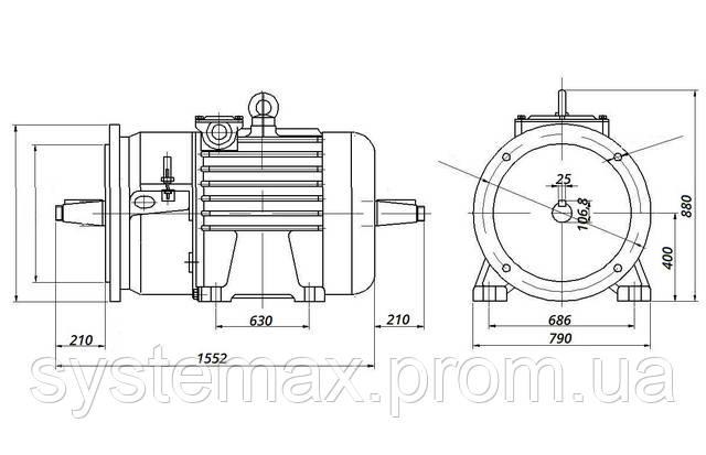 МТН 280 S8 - IM2004 фланец на лапах (габаритные и установочные размеры)