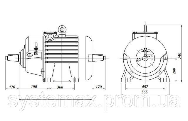 МТН 280 S8 - IM1004 комбинированный (габаритные и установочные размеры)