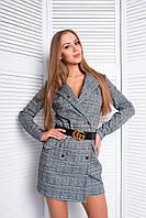Платье-пиджак стильное двубортное мини на кнопках джерси с шерстью SMf2227, фото 1