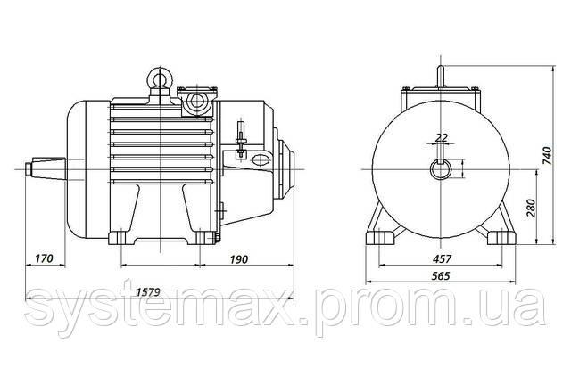 4МТM 280 L8 - IM1003 на лапах (габаритные и установочные размеры)