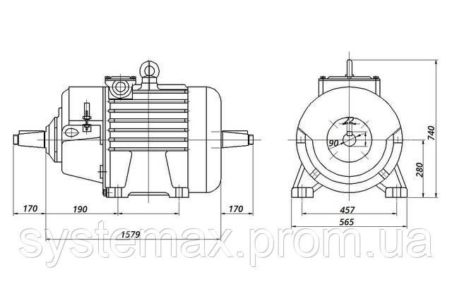 МТН 280 L8 - IM1004 комбинированный (габаритные и установочные размеры)