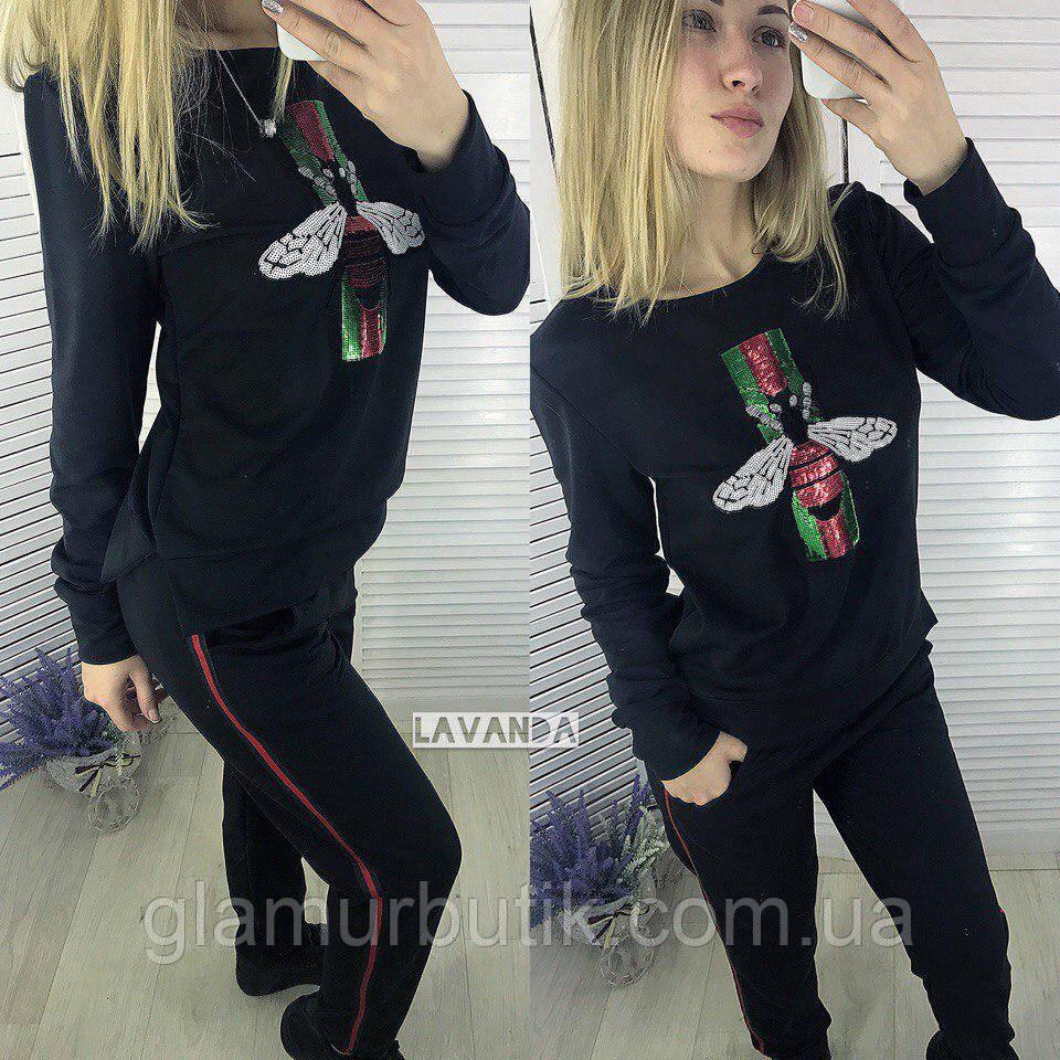 51cb4f7328a0 Модный женский костюм двойка кофта штаны Gucci пайетки 42 44 46, фото 1