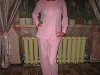 Пижама женская  100% хлопок голубая и розовая размер М (44-46) вышивка - ночка