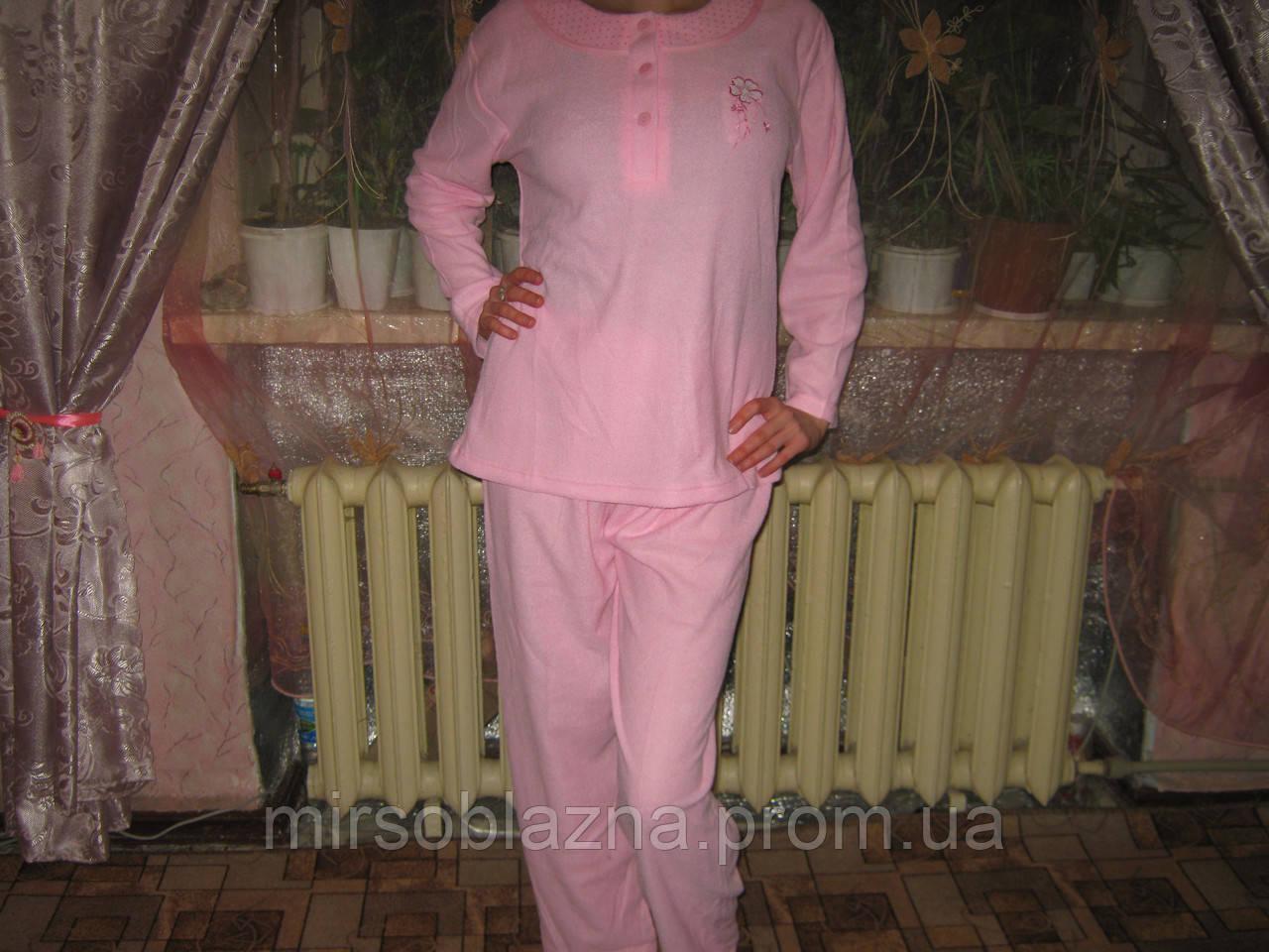 Пижама женская  100% хлопок голубая и розовая размер М (44-46) вышивка