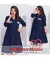 ae944aa36ca Свободное платье А-силуэта на пуговицах большой размер Прямой поставщик  Производителя ТМ Минова р.