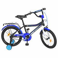 Детский велосипед Profi. Диаметр 18 дюймов. Top Grade, черный матовый. Звонок, доп.колеса. Y18101