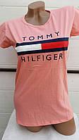 Женская футболка лето Турция Tommy персик оптом